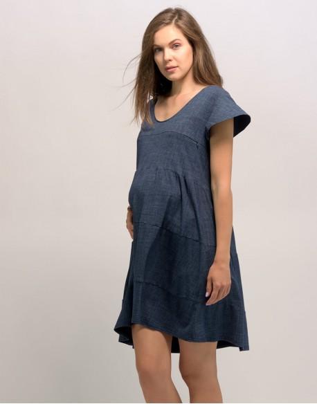 Sukienka do karmienia piersią i ciążowa CHARMING jeans ciemny
