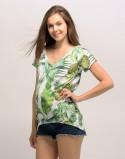 Koszulka ciążowa z nadrukiem liście białe