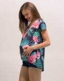 Koszulka ciążowa z nadrukiem liście navy