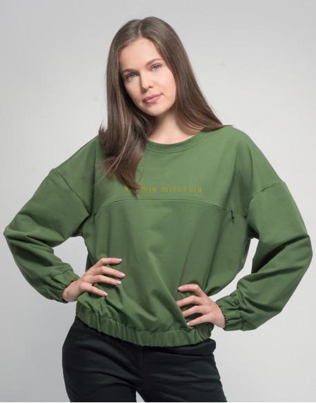 Bluza do karmienia piersią OVERSIZE zielona Karmię miłością