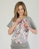 Dres ciążowy Grey Flowers krótki