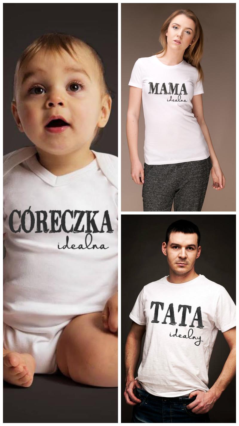 """zestaw koszulek dla rodziców i dziecka """"Idealni"""""""