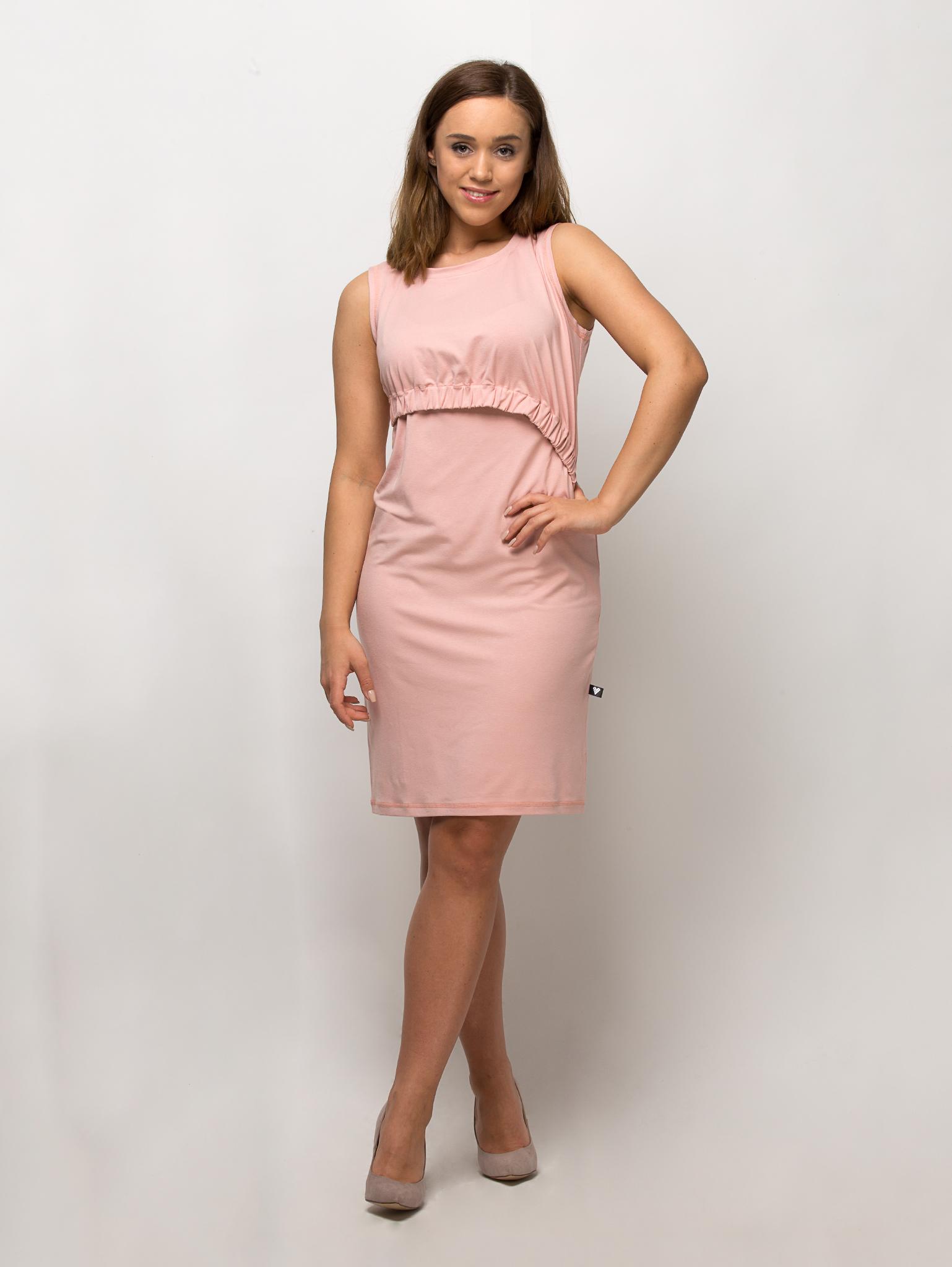 sukienka do karmienia piersia INSTANT MOMMY bez rekawa pudrowy roz